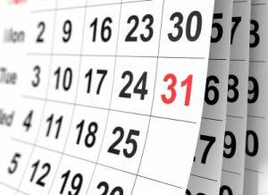 Kalenderblatt, Termine