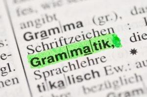 Grammatik im wörterbuch