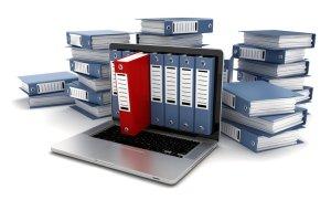 Notebook mit Akten Scannen