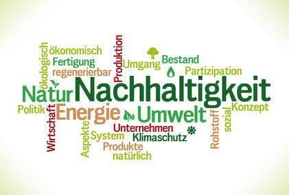Wordcloud rund um den Begriff Nachhaltigkeit