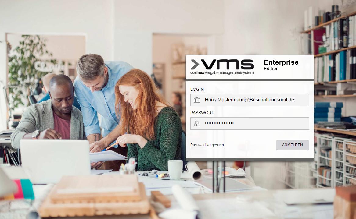 Screenshot Startbildschirm VMS