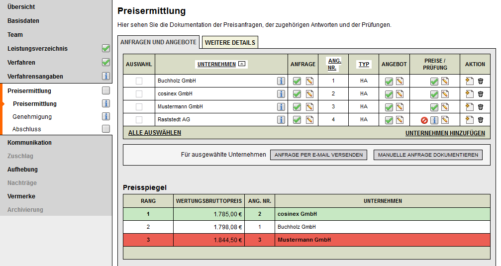 Screenshot VMS freihändige Vergabe Preisermittlung