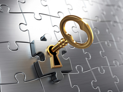 Goldener Schlüssel in Safe-Pussel - Passwörter