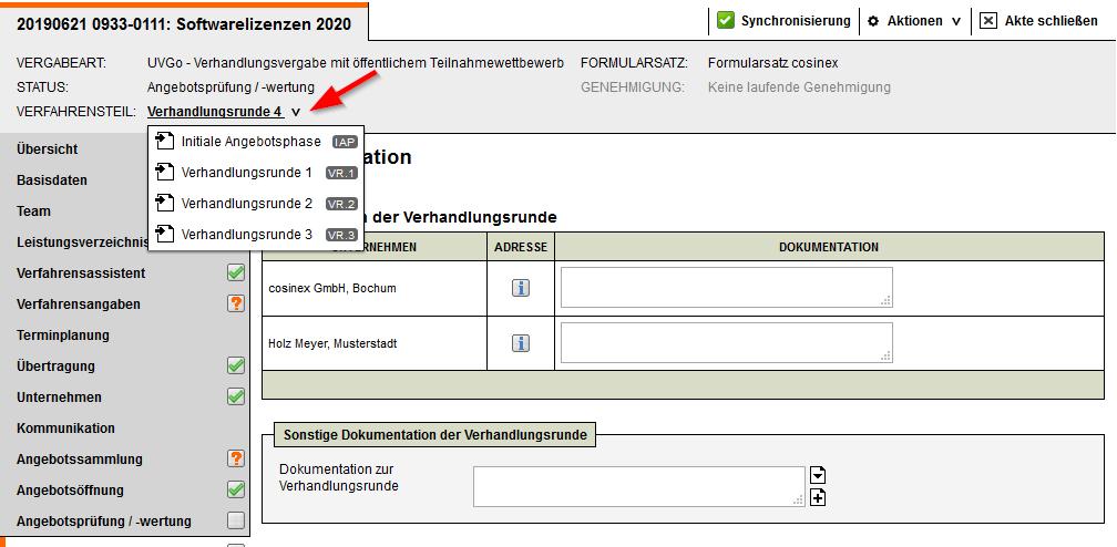 Screenshot Vergabemanagementsystem Verhandlungsrundenübersicht