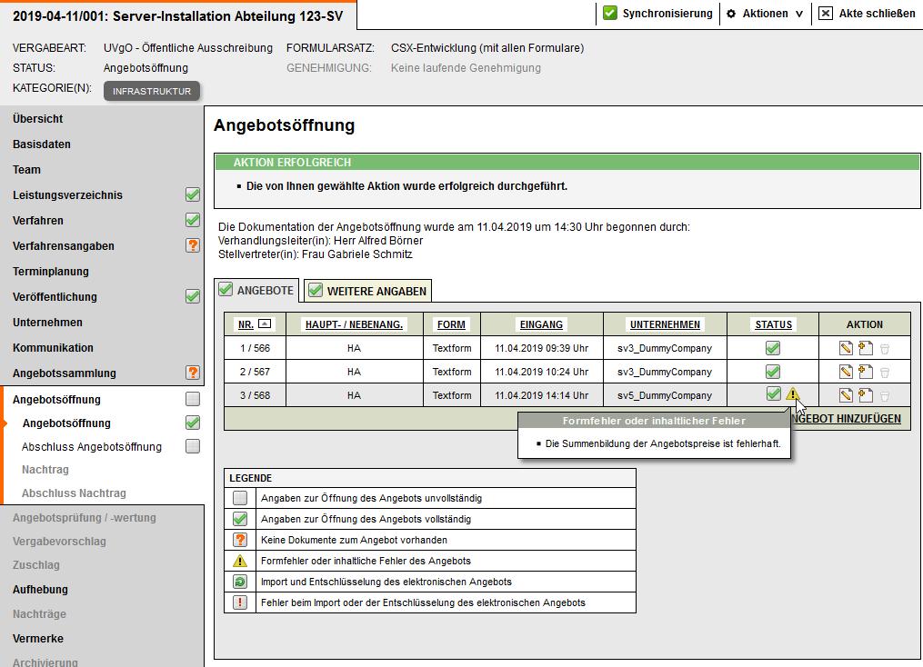 Screenshot Vergabemanagementsystem Angebotsöffnung ab Version 8.5