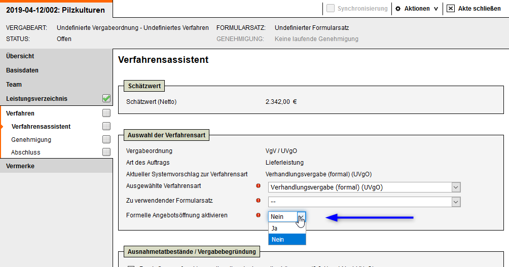 Screenshot Vergabemanagementsystem Abbildung Verhandlungsrunden ab Version 8.5