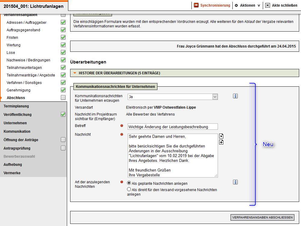 Screenshot Vergabemanagementsystem Änderungsmitteilung ab Version 8.5
