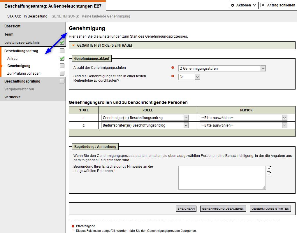 Screenshot Vergabemanagementsystem Beschaffungsantrag Genehmigung