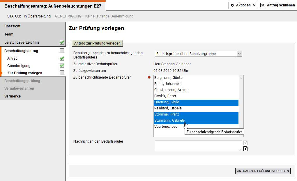 Screenshot Vergabemanagementsystem Bedarfsmanagement Benachritigung