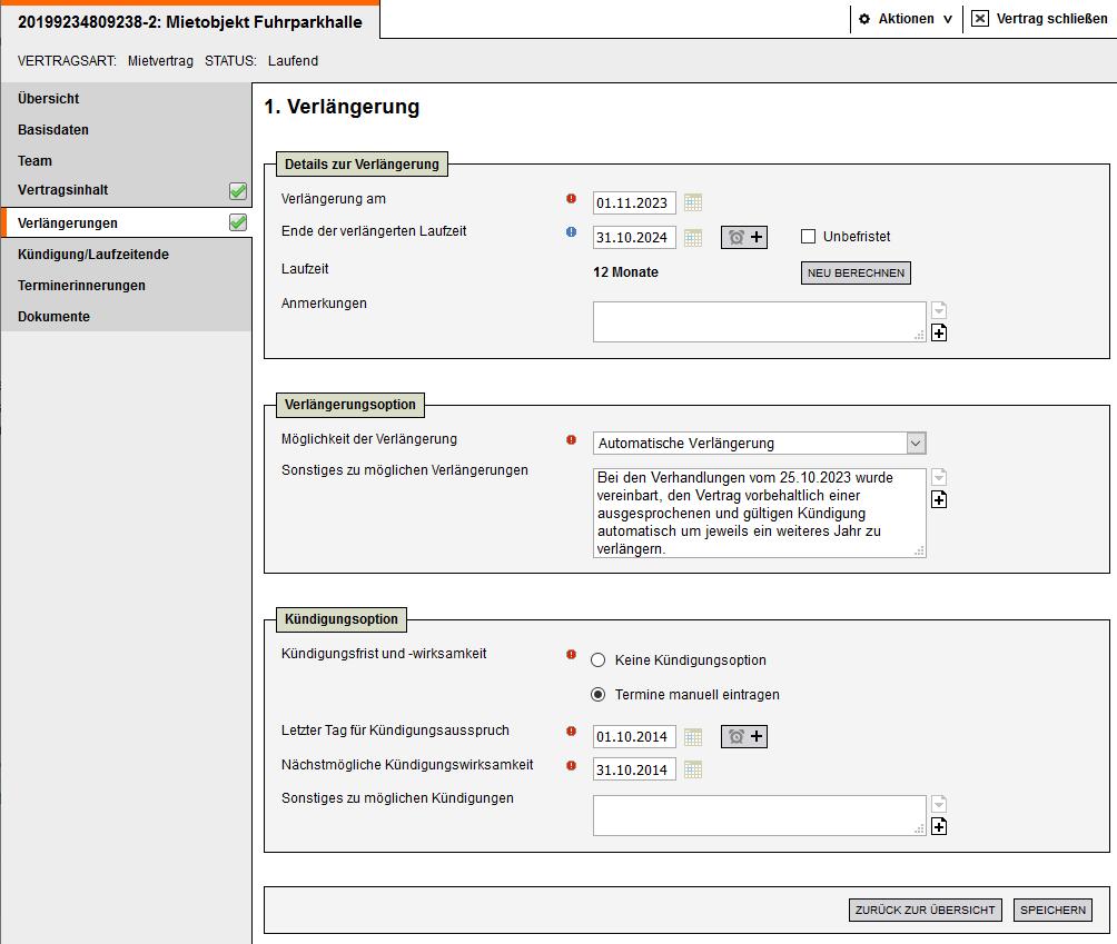 Screenshot Vertragsmanagement Verlaengerungen