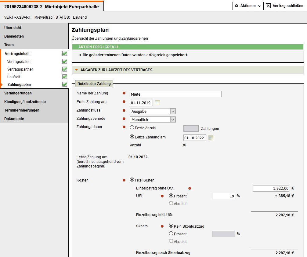 Screenshot Vertragsmanagement Zahlungspläne