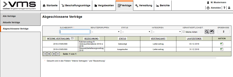 Screenshot Vertragsmanagement Ueberblick