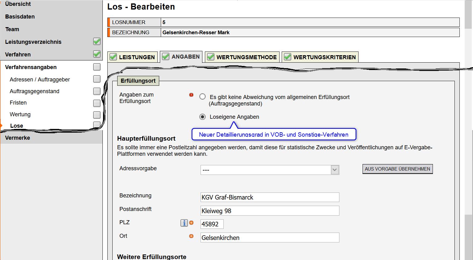 Screenshot VMS zu Losangaben (insb. Adressen) im VOB-Bereich