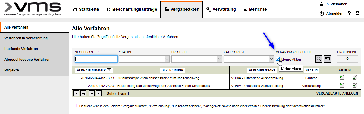 Screenshot VMS - Filter meine Akten