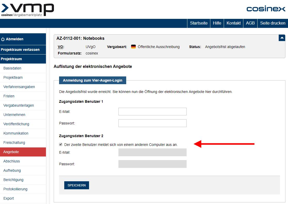 Screenshot Angebotsoeffnung VMP