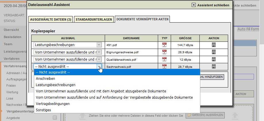 Bildschirmausdruck VMS VU aus Beschaffungsanträgen