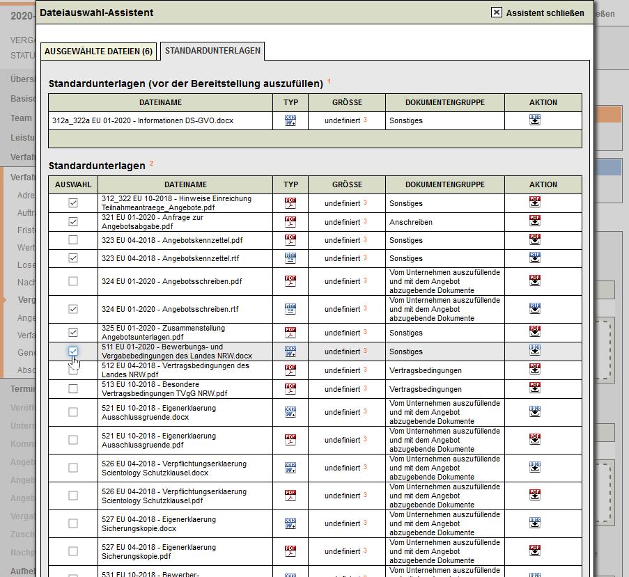 Bildschirmausdruck-VMS-Vergabeunterlagen