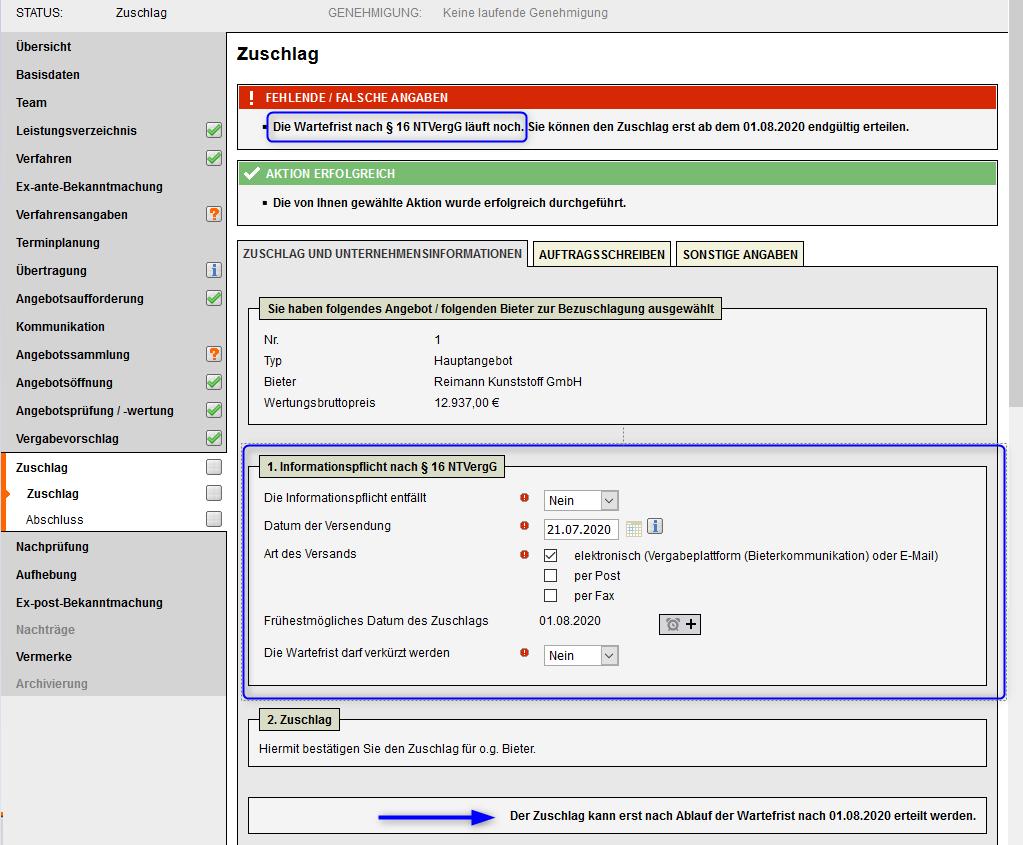 Bildschirmausdruck cosinex VMS im Bereich Zuschlag
