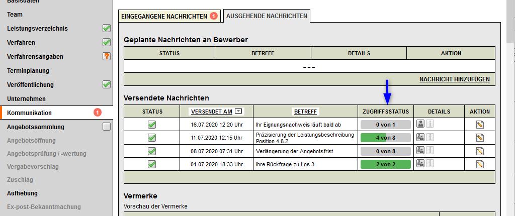 Bildschirmausdruck VMS Kommunikationsbereich