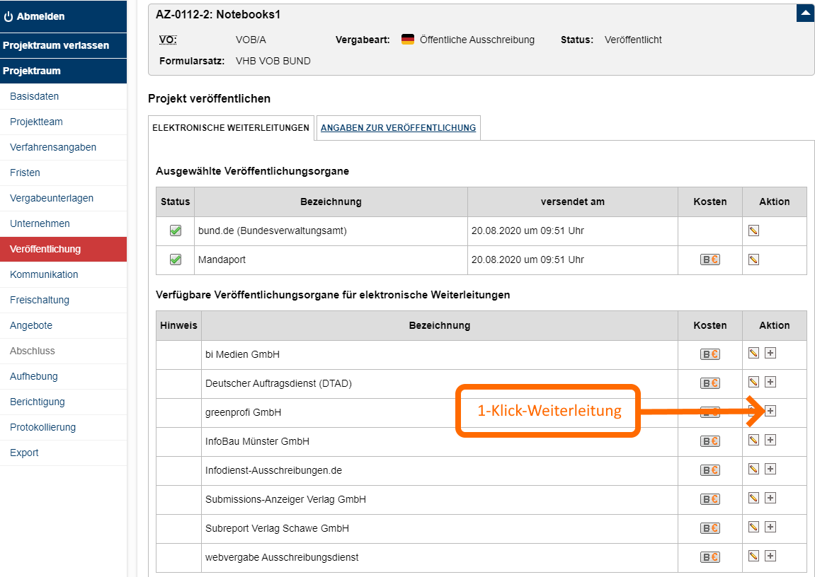 Screenshot VMP 1-Klick-Weiterleitung