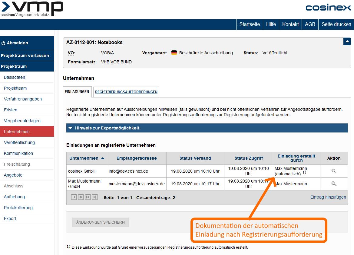 Screenshot VMP Auto-Freischaltung