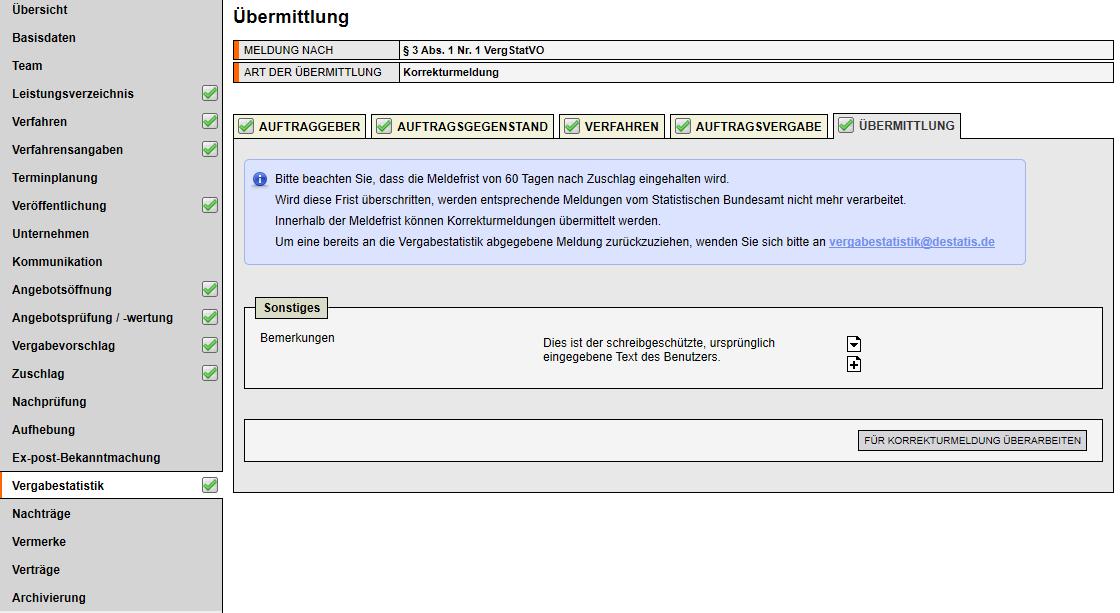 Bildschirmausdruck VMS Vergabestatistik Übermittlung