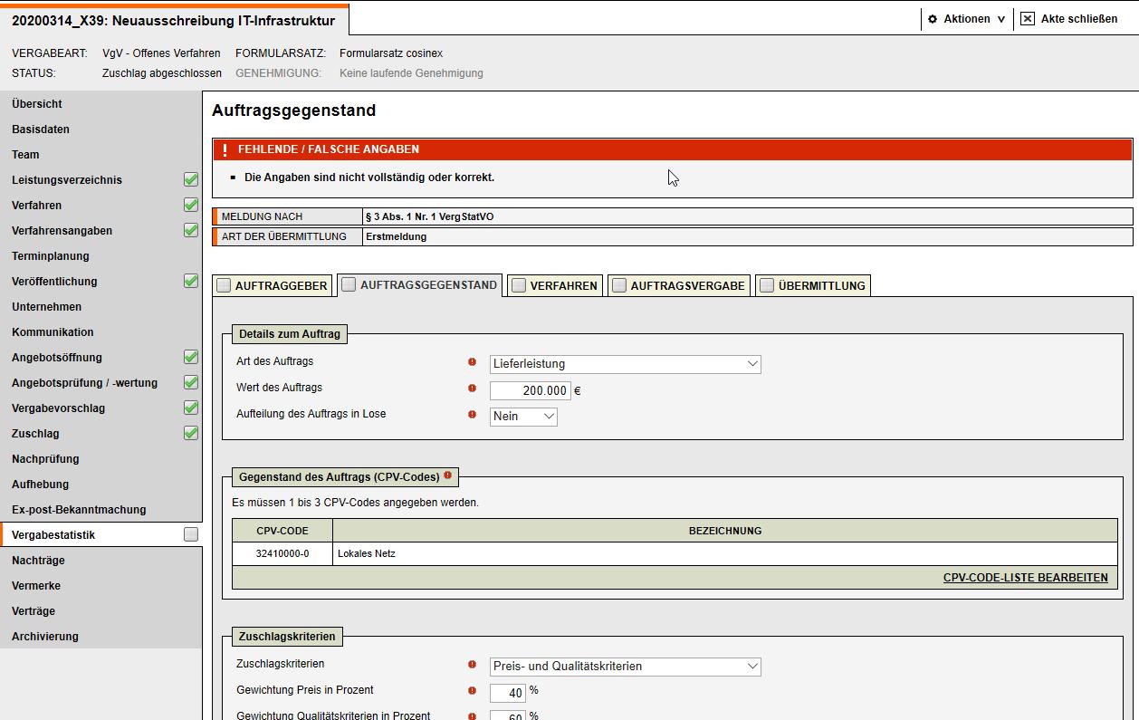 Bildschirmausdruck VMS Vergabestatistik