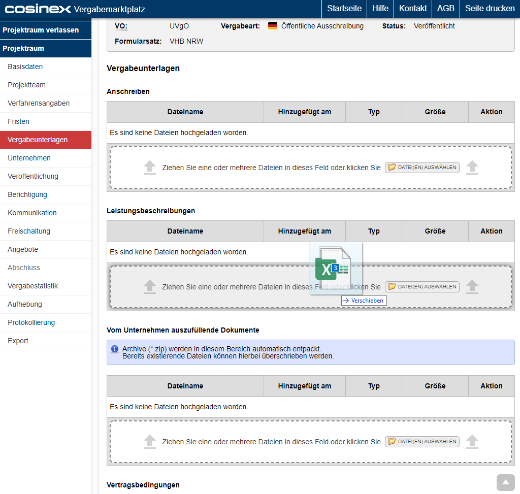 Bildschirmausdruck VMP Multi-Datei-Upload