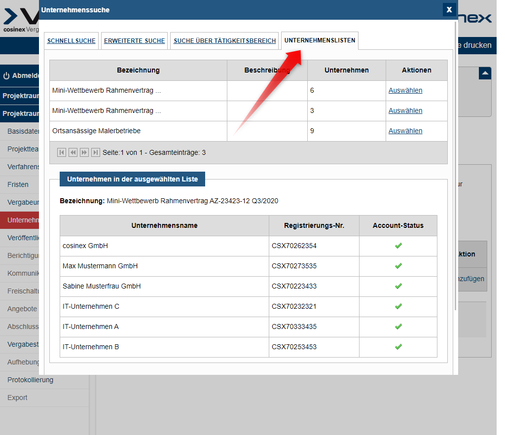 Bildschirmausdruck VMP Unternehmenslisten in Projekträumen