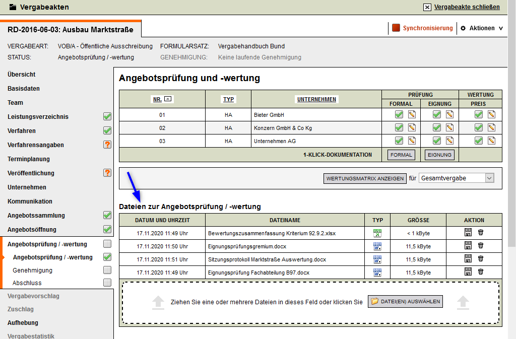 Screenshot VMS Dokumente Angebotswertung