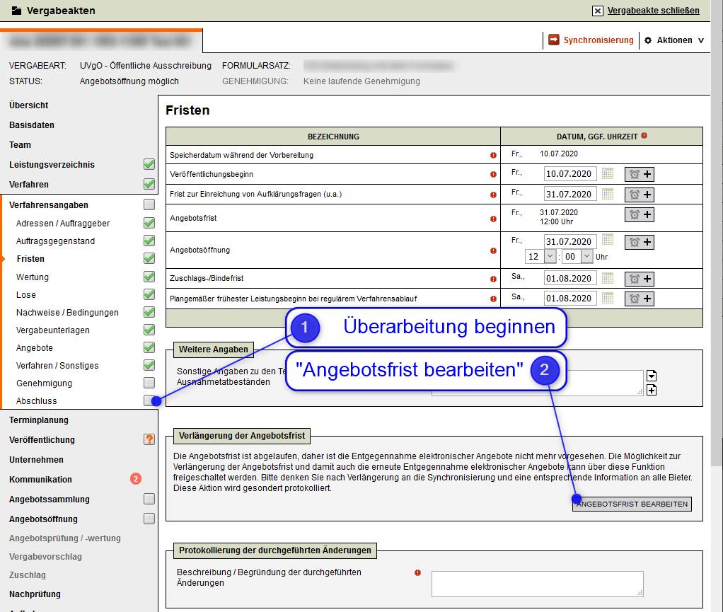 Screenshot VMS Verlängerung Angebotsfrist