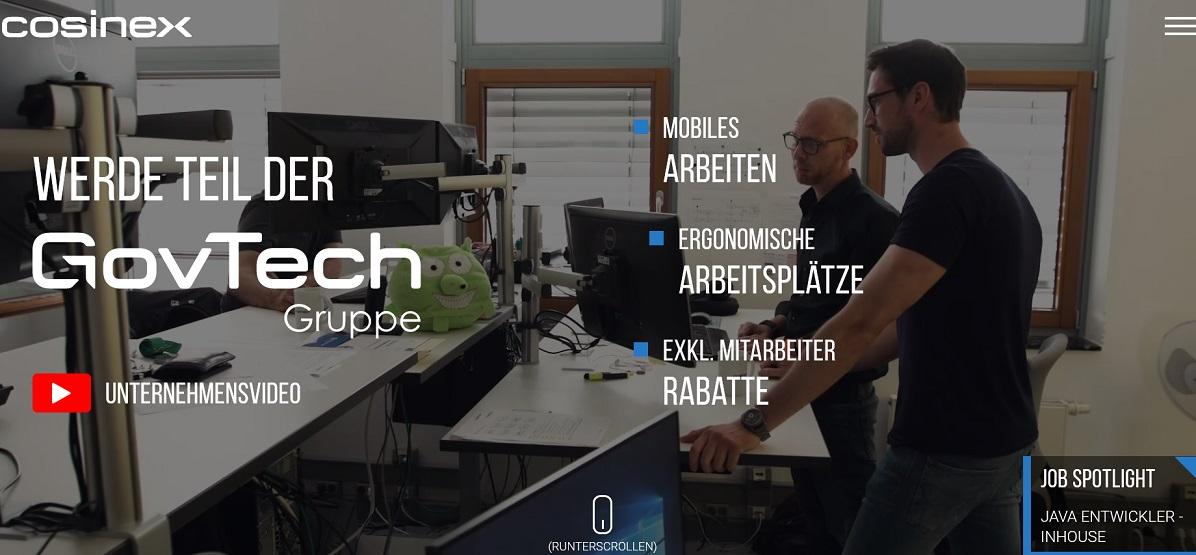 Screenshot Karriereseite der cosinex