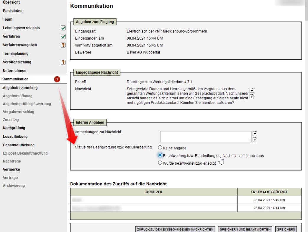 Bildschirmausdruck E-Vergabeakte - Statusmanagement
