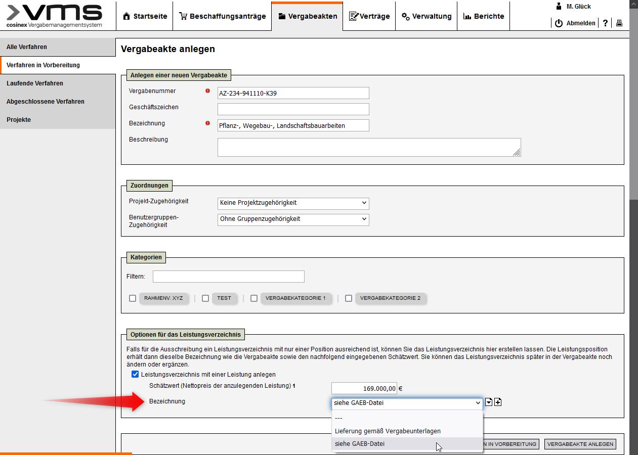 Bildschirmausdruck VMS - Standardbezeichnung