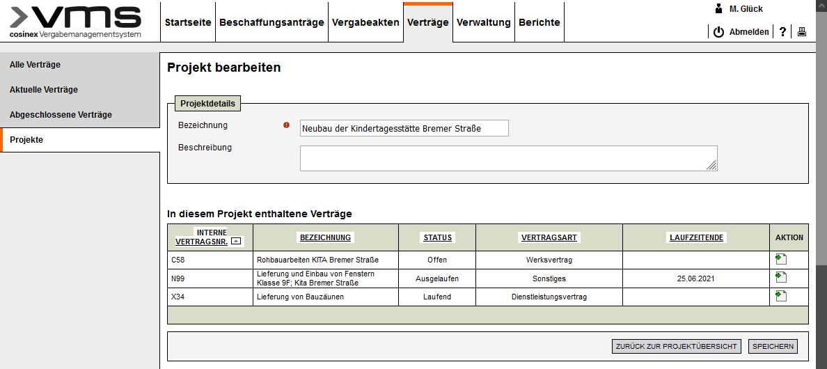 Screenshot Vertragsmanagement Projekte